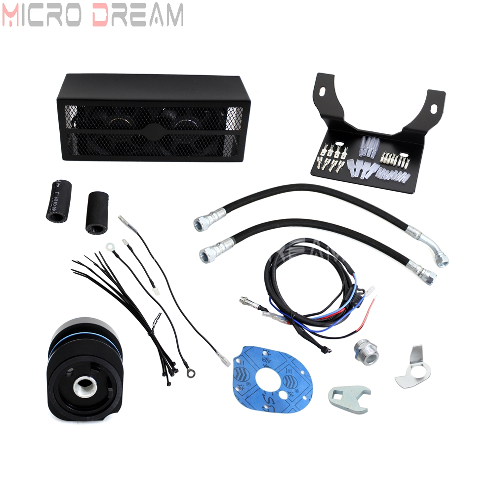 Noir Ultra 2.0 frais refroidisseur d'huile refroidisseur ventilateur système de refroidissement Kits avec filtre à huile entonnoir pour Harley Touring Road King Glide 2009-2016