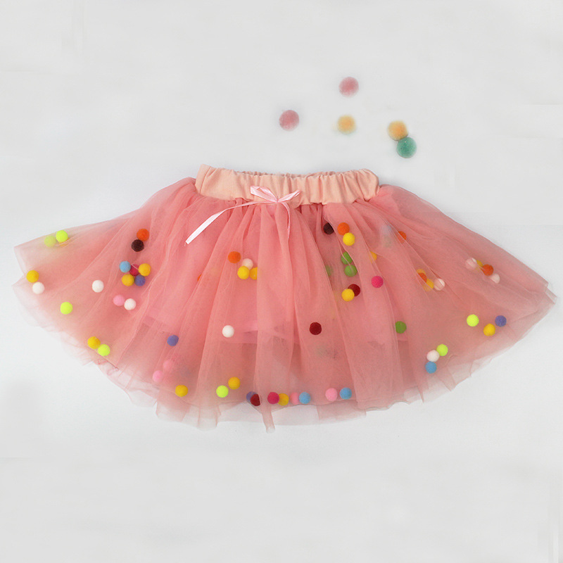 Spring summer Lace Mesh Baby Girl Tutu Skirt Colorful pompom Princess Girls Skirts 1-4Y Children Clothing Tutu ball Pettiskirt (7)