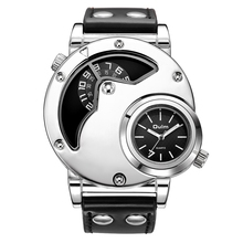 Oulm New Arrive Unique Design Male Quartz Watch Two Time Zone Sports Men's Watches PU Leather Casual Men Military Wristwatch