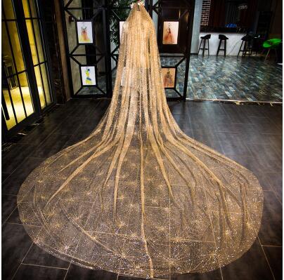 Velo bulingbuling brillante cola larga de oro novias de boda lujo velo de boda blanco capilla tren largo ropa de novia - 6