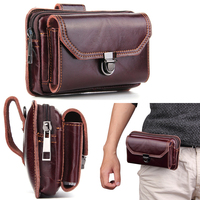 Genuine Cow Leather Belt Phone Case Dual Pouch For Huawei Honor V8 5A,P9 Plus,Mate 8 7 G7 Plus,Mate S2 ,Honor Magic 2 3D