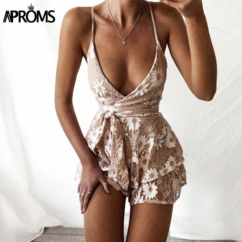 Aproms Sexy Deep V Lace Floral Playsuit Womens Romper Tie Bow Jumpsuit Backless Bandage Summer Party Overalls for Women Clothing