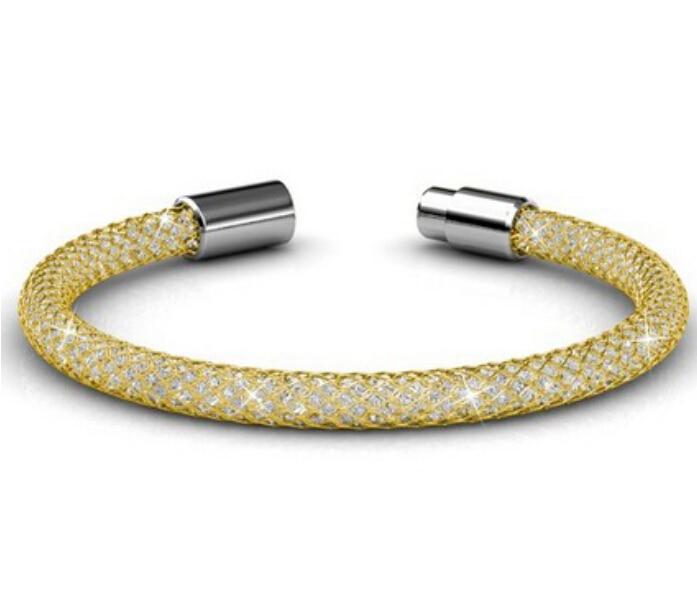 Swarovski Multi Strand Mesh Bracelet shown with 3 Stone