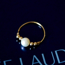 pearl ring for women gold plated double balls top grade freshwater jewelry simple elegant lady gift romantic