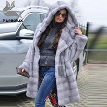 83217205bb Furealux 2019 nouvelle arrivée gris de luxe vison fourrure manteau à capuche  pour les femmes chaud lâche avec ceinture naturel v.