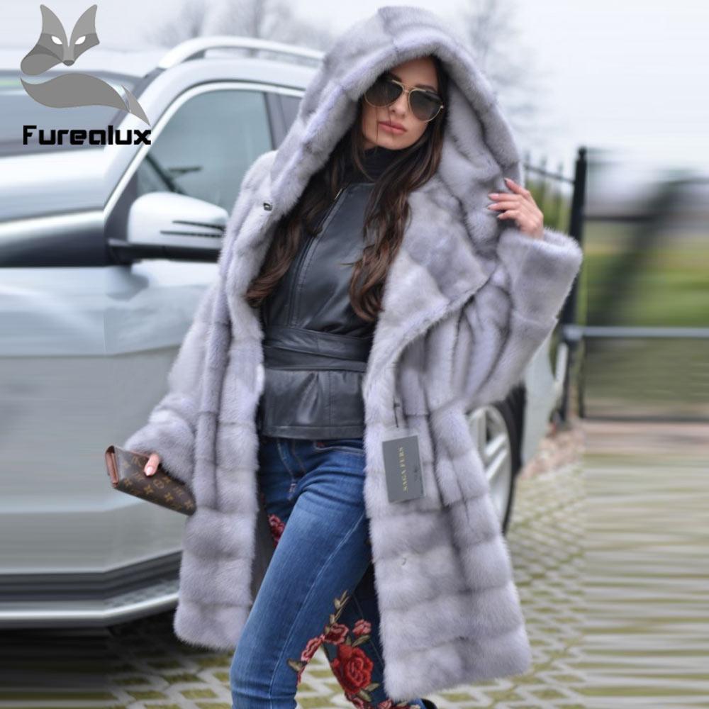 Furealux 2019 nouvelle arrivée gris de luxe vison fourrure manteau à capuche pour les femmes chaud lâche avec ceinture naturel vison fourrure vestes