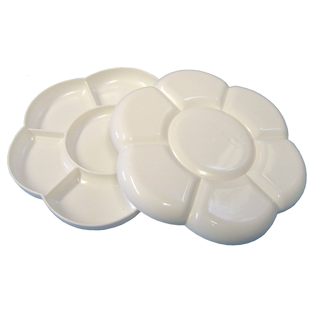BLEL Hot Artist Watercolor Paint holes White Paint Tray Palettes Flower Shape Plastic Painting Palette professional 10 well round artist watercolor paint mixing palette tray white color