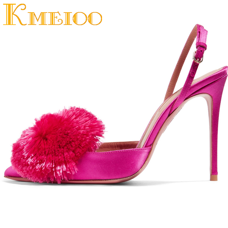 Kmeioo 2019 Pumps For Women Puff Pompom Slingback Pumps Ankle Strap High Heels Pointed Toe Stiletto Evening Wedding Shoes 10CMKmeioo 2019 Pumps For Women Puff Pompom Slingback Pumps Ankle Strap High Heels Pointed Toe Stiletto Evening Wedding Shoes 10CM