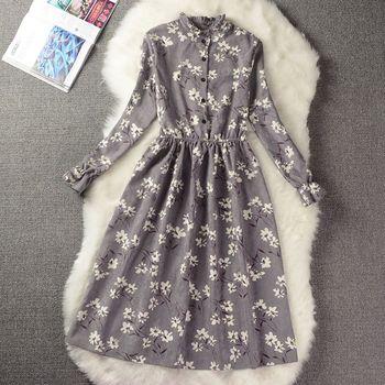 Autumn Winter Women Sweet Corduroy Dress Stand Collar Print Long Sleeve Femininos Vestidos Mori Girl Elegant Loose-Waist Dress 2