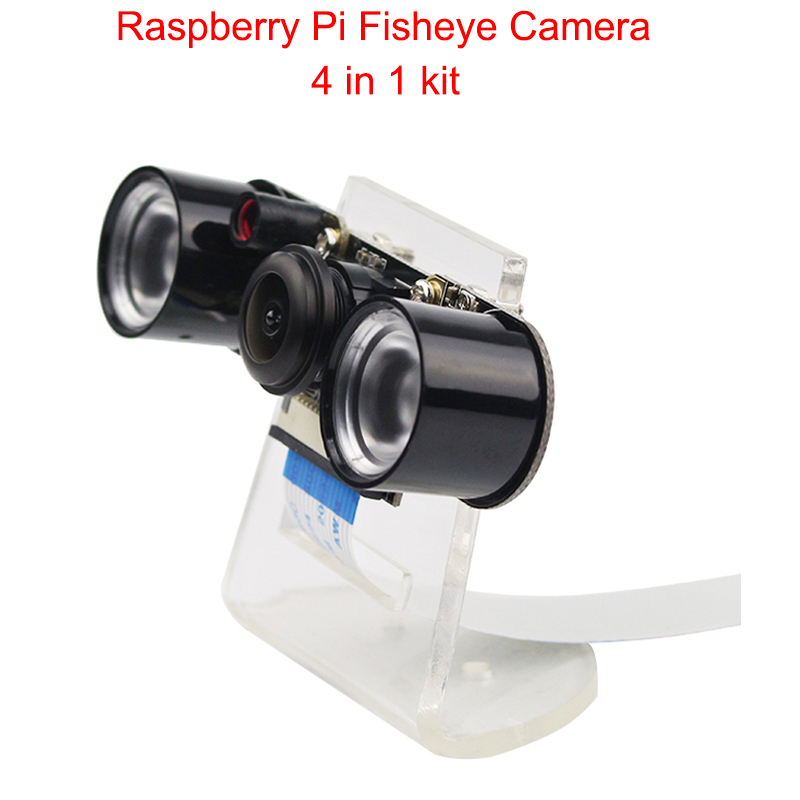 Raspberry Pi Camera RPI Fisheye Wide Angle Night Version Camera + Acrylic Holder + IR Light + FFC Cable for Raspberry Pi 3 B+/ 3 wide flex cable version 100