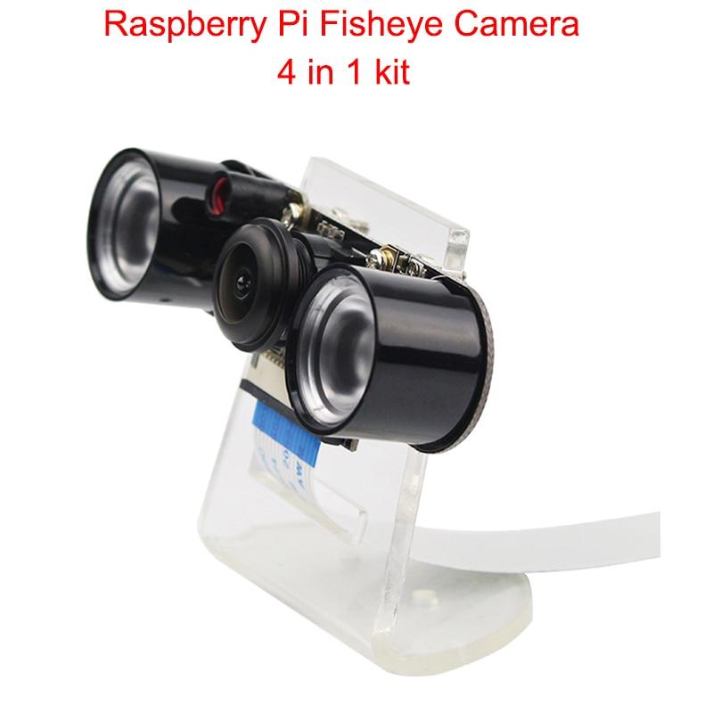 Raspberry Pi Kamera RPI Fisheye Weitwinkel Nacht Version Kamera + Acryl Halter + IR Licht + FFC Kabel für raspberry Pi 3 B +/3