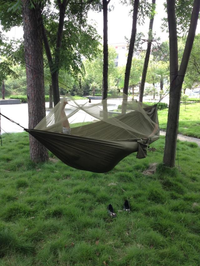 Outdoor Travel Camping Backpacking  Portable Sleeping hanging Bed Hammock w/ Bug Mosquito Net  Military Jungle Freeshipping 2017 portable nylon garden outdoor camping travel furniture mesh hammock swing sleeping bed nylon hang mesh net