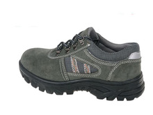 Genuine leather work safety protective shoes men's anti-smashing baotou oil-resistant army green