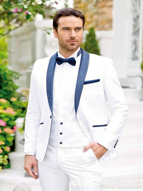 New Design White Men Suits For Wedding Blue Shawl Lapel Fashion Formal Tuxedos Groom Party Prom Suits Men 3 Pieces Costume Homme
