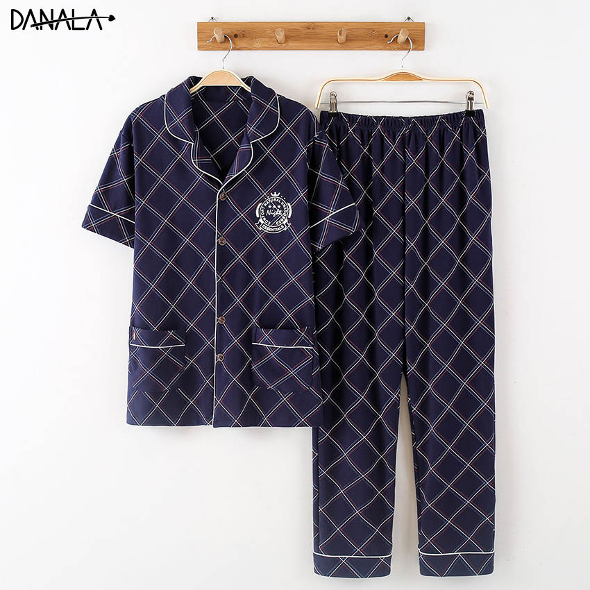 DANALA 100% Cotton Sleepwear Sets For Men Short Sleeve Floral Print Comfortable Nightwear Sets Male Home Clothes For Men