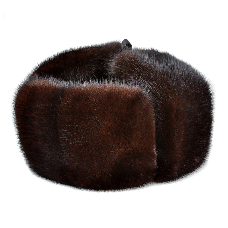 Bomber-Hat Russian-Caps Mink-Fur Winter Real-Leather LUXURY Genuine NEW for Man Black/brown