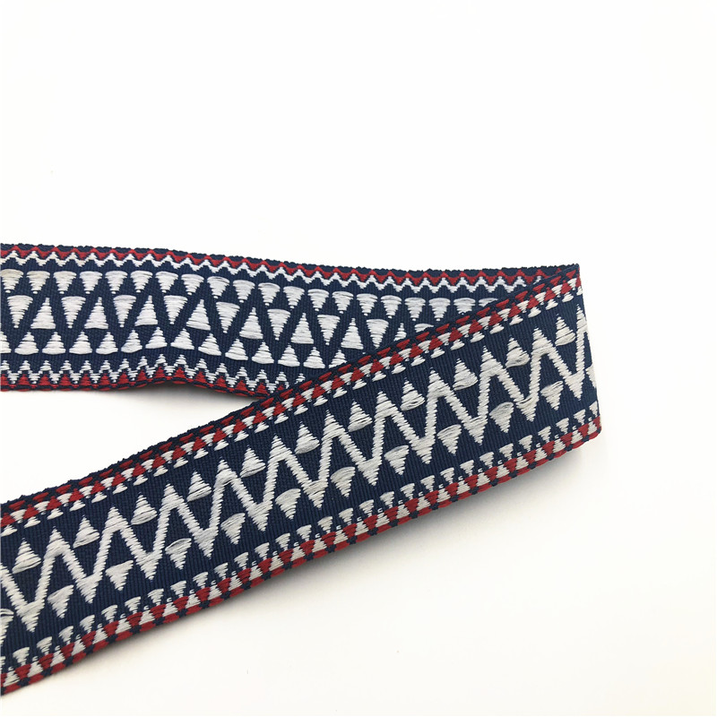 5Yards 32mm 1-1/4Navy Blue Home Bowknot Craft Acceessory Geometric Embroidery Woven Jacquard Ribbon Gift Wrapping Ribbon