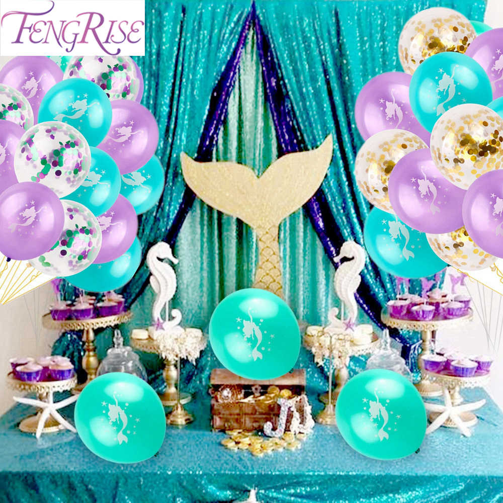 FENGRISE Mermaid Balloon The Little Mermaid Birthday Party Baloons Mermaid Party Ballon Happy Birthday Party Decor Kids Birthday