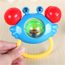 1pc Baby Rattles Bell Toys Crabs Gripping Rattle Toy Kid Handbell Musical Educational Instrument Toddlers Rattles Handle Toy