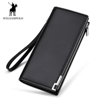 WILLIAMPOLO Famous Brand Genuine Leather Men's Casual Wallet Card Holder Male Billfold Portefeuille Homme Carteira Long Purse
