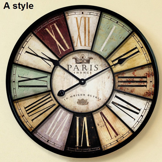 Home decor Large wall clock 60cm & 34cm antique style mute iron ...