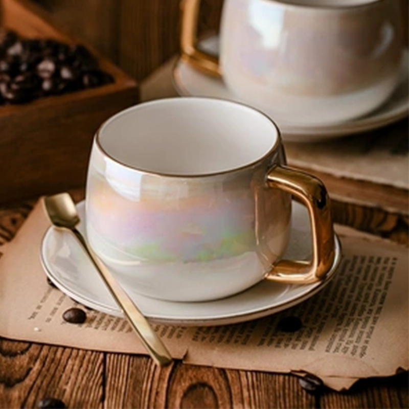 LEKOCH Aurora pearl glaze Ceramic Afternoon Black Tea Cups And Saucers With Spoon Coffee Cup With Tray Porcelain Drinkware Set