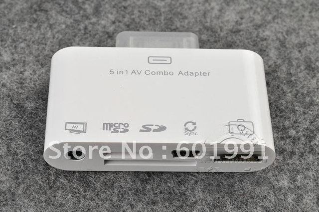 5in1 camera connection kit with AV output USB SD card reader for ipad 1 2 3 free shipping