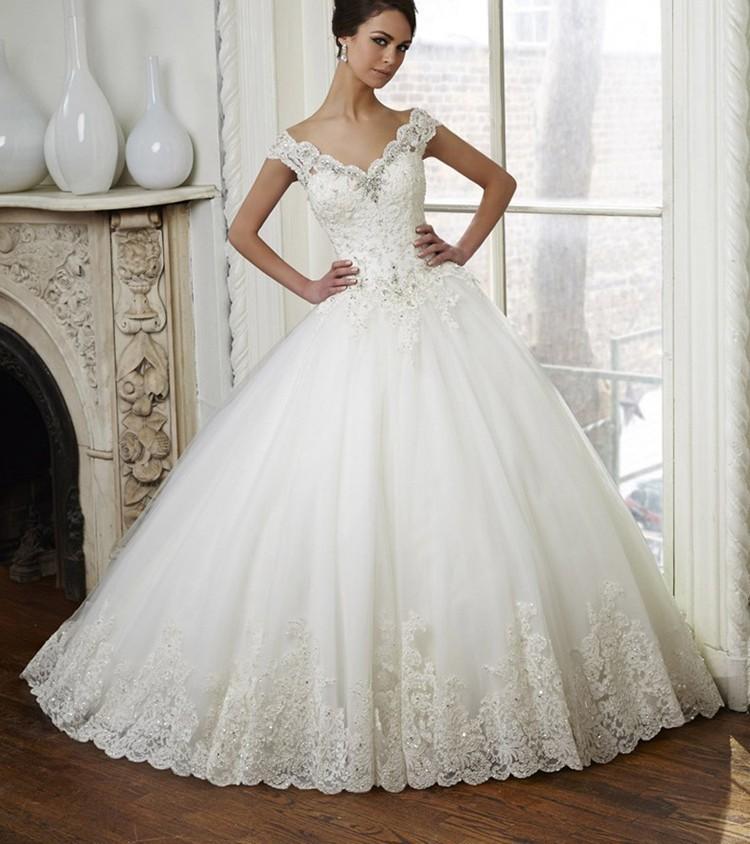 robe de mariage 2017 Hot Sale Ball Gown Beatiful Appliqed V Neck ...