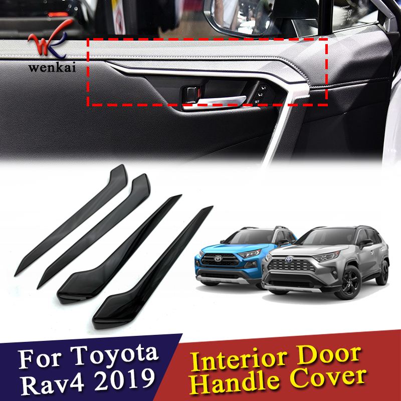 ABS Piano Black 4PCS Car Accessories Interior Door Handle Cover Trim Strikers Decoration For Toyota RAV4