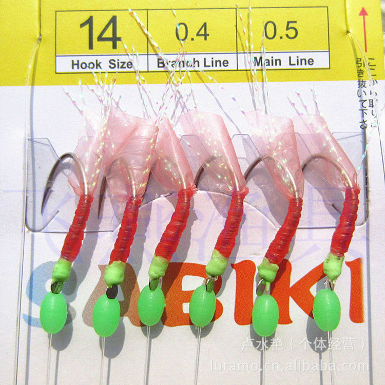 KKWEZVA Sabiki Hook Top Fishing Quality Lure Soft Luminous Shrimp 7 # -12 # Hook 1.3M Main panjang memancing menangani Soft Bait Free