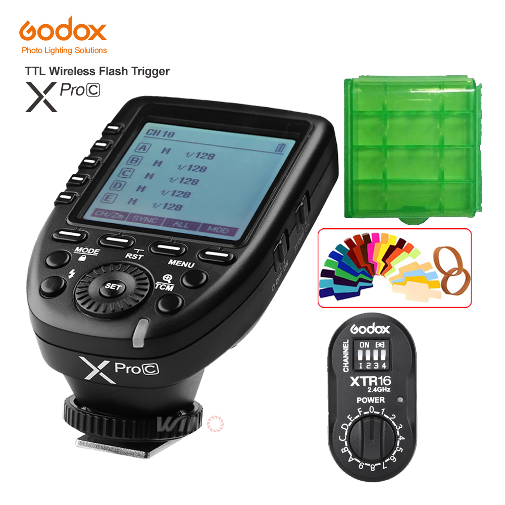 Godox XPro-C Flash Trigger Transmitter E-TTL II 2.4G Wireless X System HSS+XTR-16 Receiver for Canon with AD180 AD360 AD360II-C godox x1t s ttl 2 4g wireless trigger for sony 2x xtr 16s flash receiver for v850 v860 c v850ii v860iic v860n v860ii f v850ii