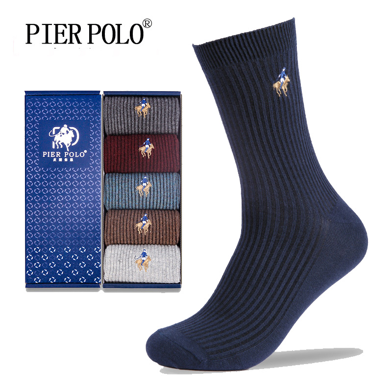 PIER POLO Socks Fashion Brand Men Socks 5 Pairs/Lot Crew Cotton Compression Socks Winter Deodorant Embroidery Dress Socks Men