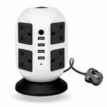 Smart Power Tower Socket Plug 8 Outlet 4 USB Ports 2 Layer UK Socket Suitable Auto-thunder