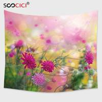 Cutom Tapestry Wall Hanging,Flower Floral Garden Spring Time Season Plants Abstract Backdrop Image Photo Fuchsia Light Pink