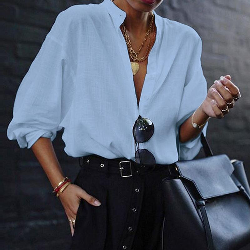 VONDA New Women Blouses 19 Summer Office Lady White Shirts Lantern Sleeve Buttons Deep V Neck White Blouse Sexy Plus Size Tops 12