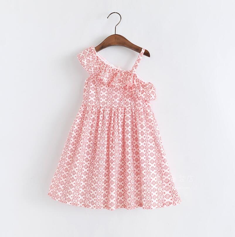 New 2019 Baby Girls Summer Cotton Ruffles Printed Sling Dresses, Baby Children Fashion Dress 6 pcs/lot, Wholesale Free Shipping
