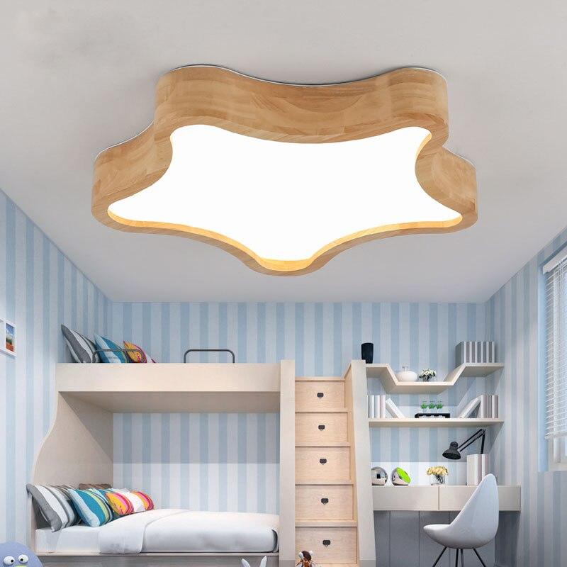 LED plafonniers lampes en bois modernes pour enfants enfants chambre nuage étoile mignon décoration de la maison belle nouveauté luminaires