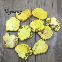 Smooth Yellow Turquoises Slice Beads Natural Center Trilled Howlite Beads Jewelry DIY Findings MY1670