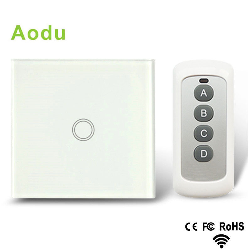 Eu / uk standard AODU remote switch 1 Gang 1 Way, crystal glass switch panel, remote wall touch switch + led indicator smart home us au wall touch switch white crystal glass panel 1 gang 1 way power light wall touch switch used for led waterproof