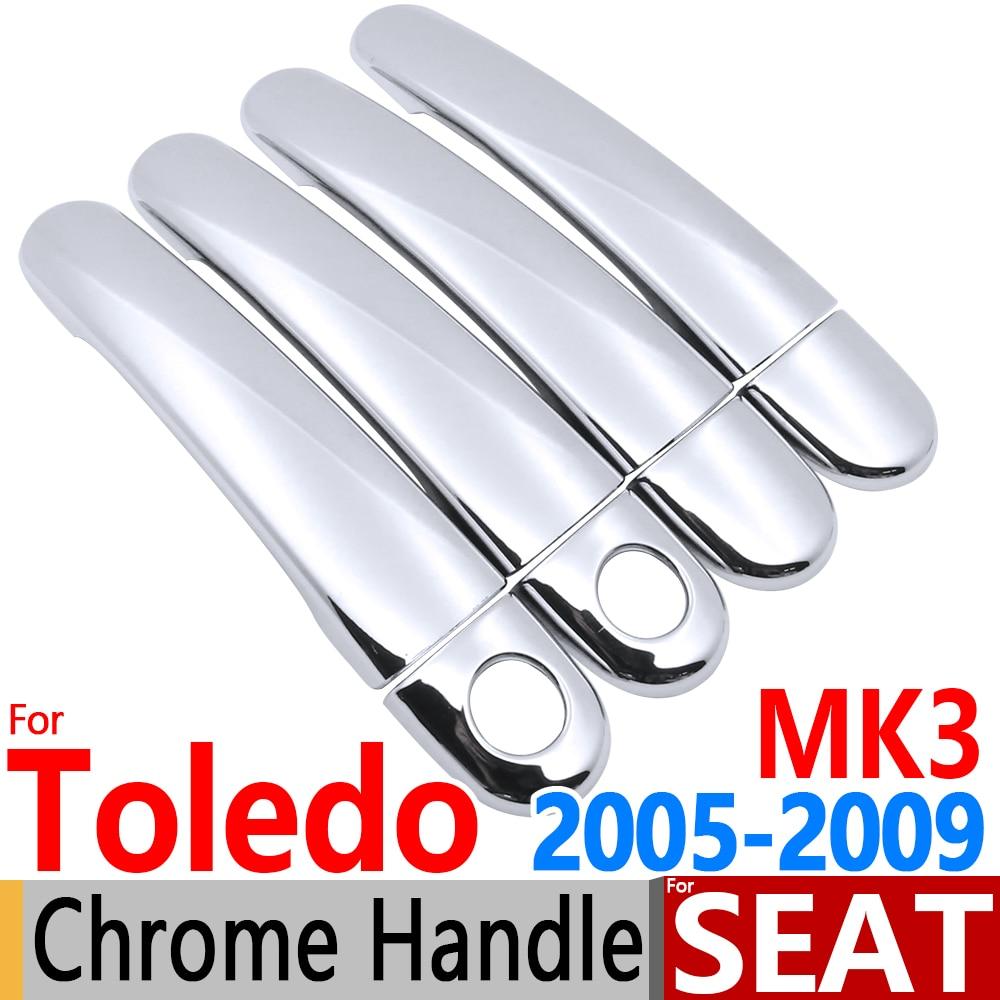 Prix pour Pour Seat Toledo 3 MK3 2005-2009 Luxueux Chrome Poignée De Porte couvre L'équilibre Set pour 5 P 4 Porte Accessoires Autocollants De Voiture Style 2007