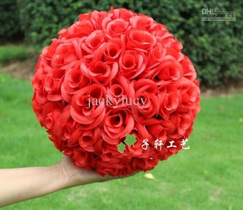 "20 CM/8"" Artificial Encryption Rose Silk Flower Kissing Balls Hanging Ball Christmas Ornaments Wedding Party Decorations"