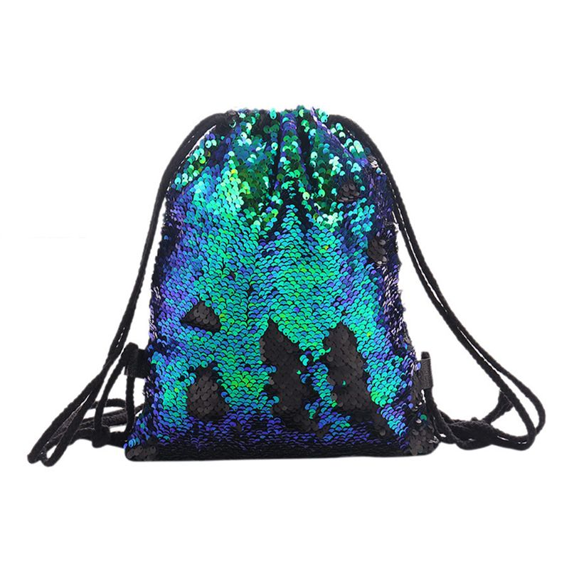 Women Girls Drawstring Reversible Backpack Glitter Bags Sequins Casual Patchwork Rucksack Cotton Fabric Drawstring Bags Female