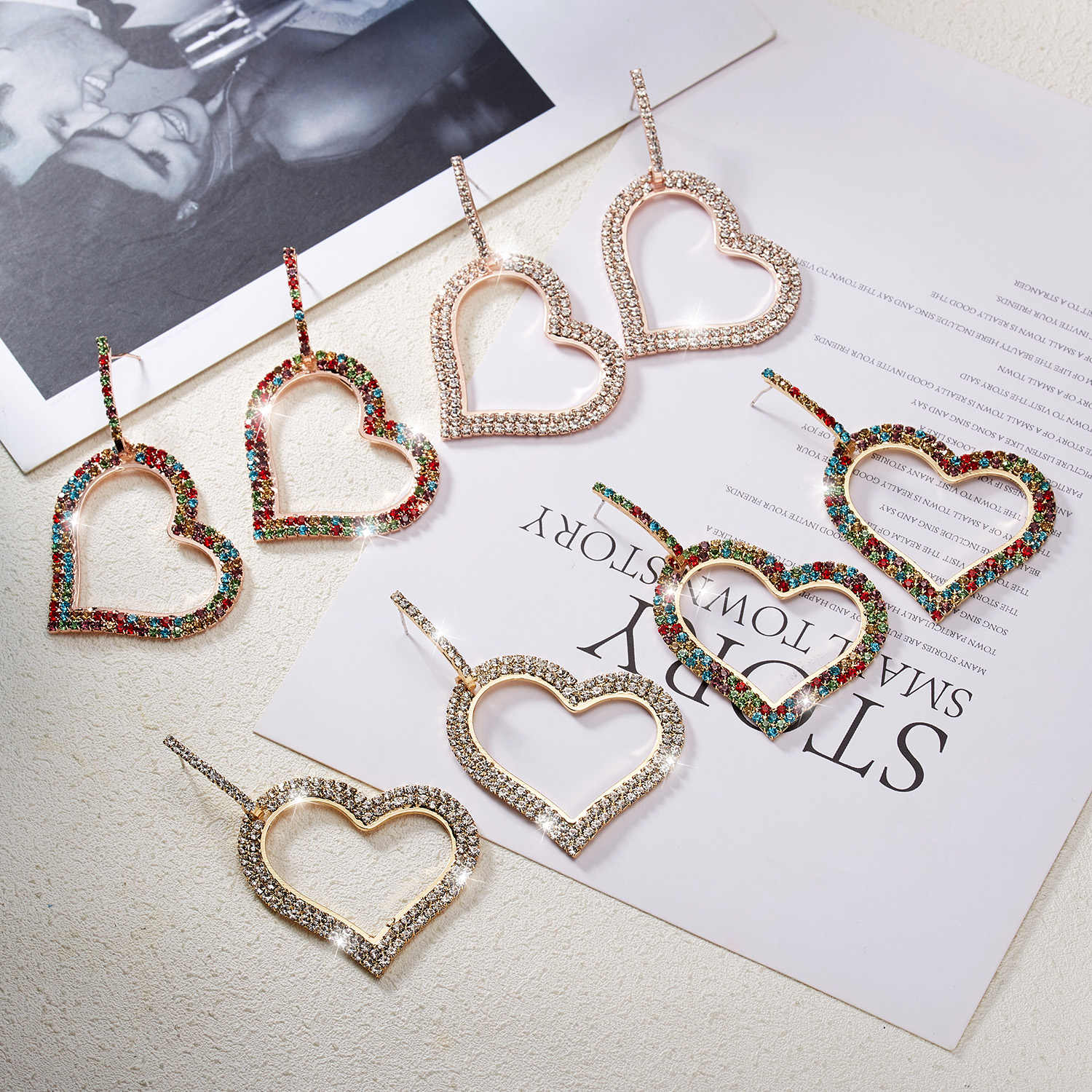 Belleper New Fashion Love Heart Female Earrings Love Big Heart Empty Earrings Drop Earrings Brincos Korean Style Ear Jewelry