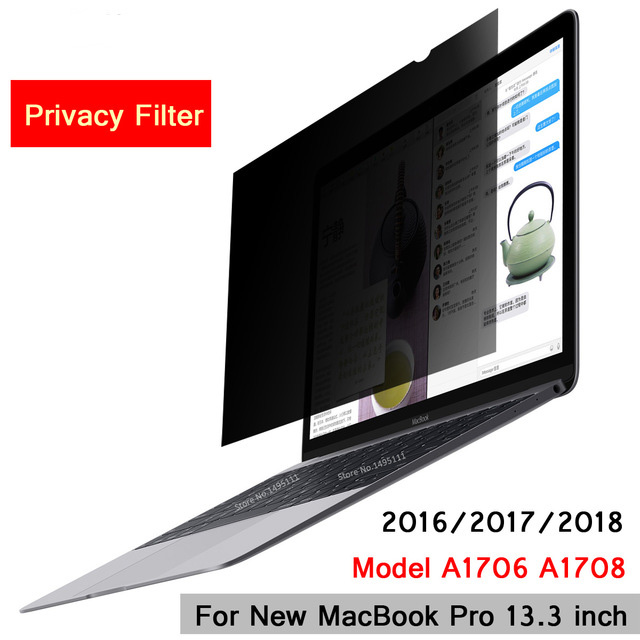 For 2016/2017/2018 New MacBook Pro 13.3 inch Touch Bar Model A1706 A1708, Privacy Filter Screens Protective film (299mm*195mm) aiboully magnetic privacy filter screens protective film for new macbook 12 inch for apple macbook 12 retina laptop screen a1534