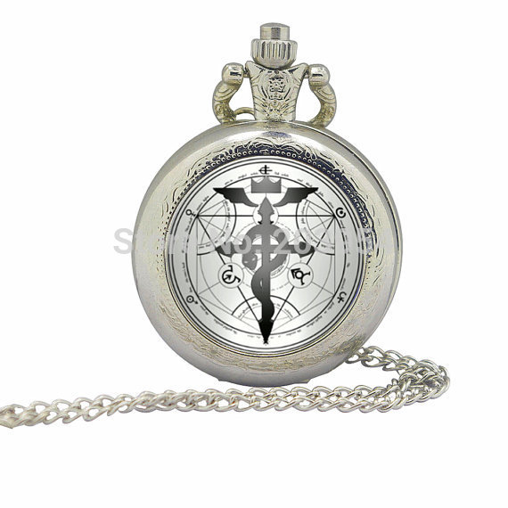 New 35mm Silver movie Fullmetal Alchemist Magic Pocket Watches 1pcs/lot Victorian Necklace Unisex pendant handmade jewelry men(China (Mainland))
