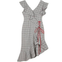 New Summer Party Dresses Women Ruffles Plaid V neck Gray dress for girls High Quality Clothing Free Shipping