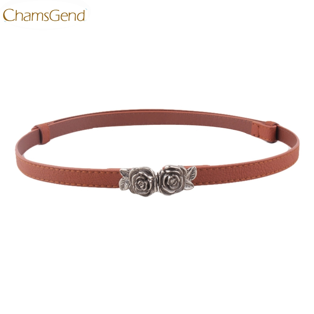 Chamsgend Newly Design Women Girls Fashion Slim Faux Leather Band Rose Flowers Hook Buckle Waist   Belt   Strap 160630 Drop Shipping