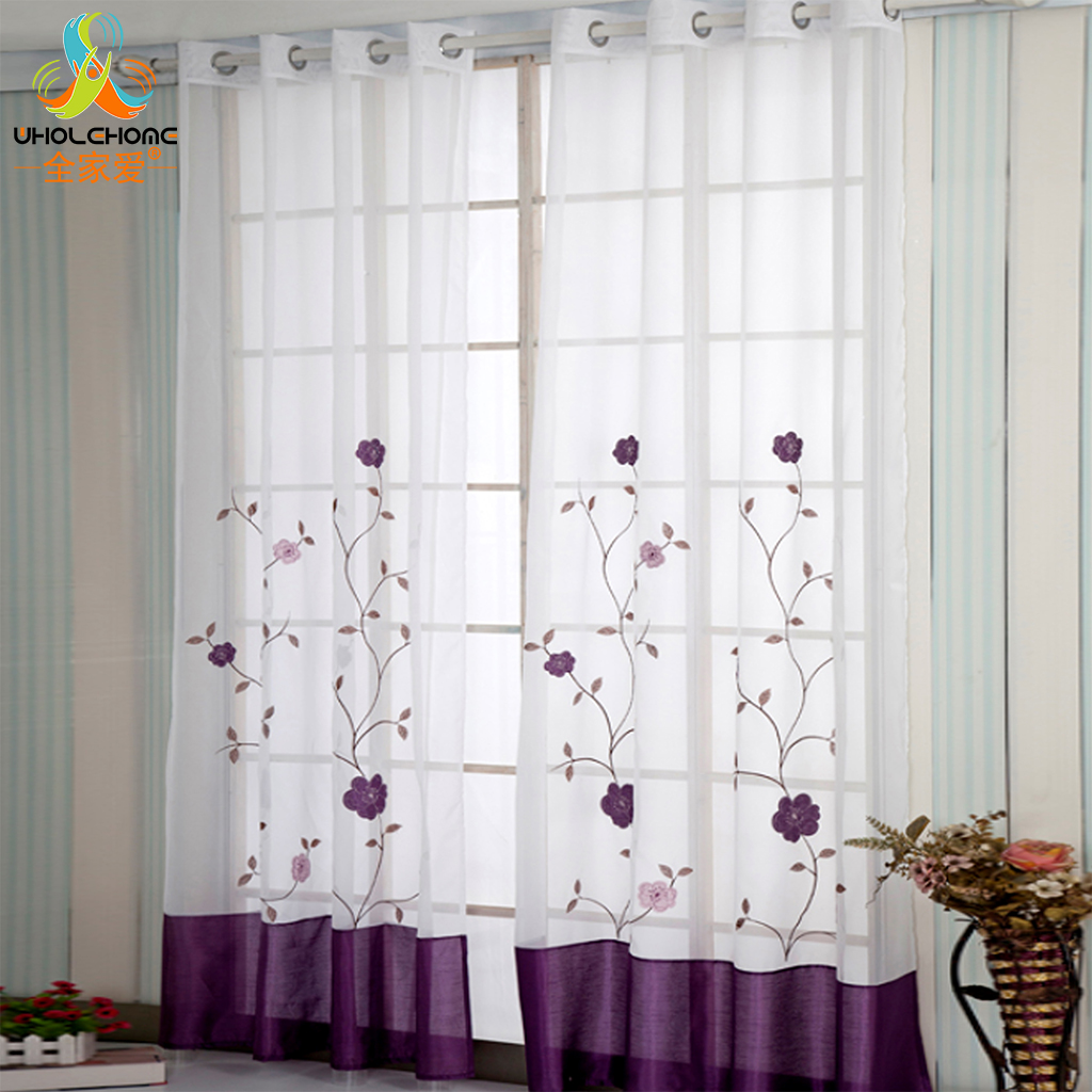 Sheer Curtain Window Treatment Pleat Voile Tulle Polyester Floral