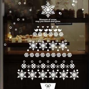 DCTAL Christmas tree glass window wall sticker decal home decor shop decoration X mas stickers xmas117