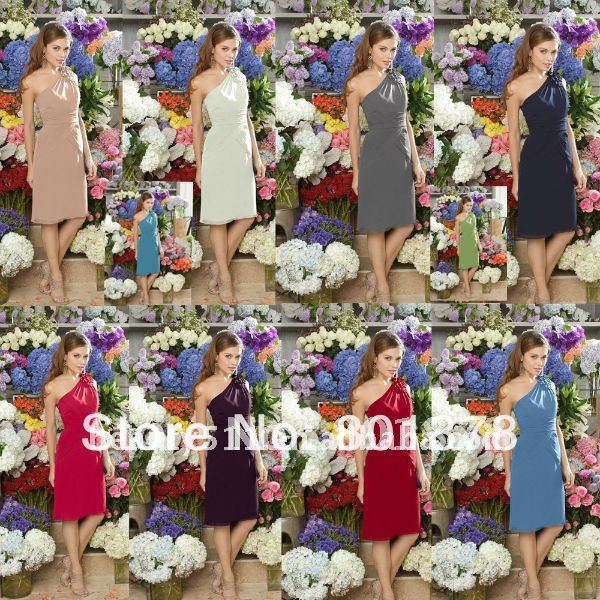 Astergarden  Low Price One-shoulder Knee Length Chiffon Bridesmaid Dress EB064